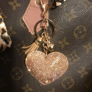 Bling heart Keychain Purse Charm